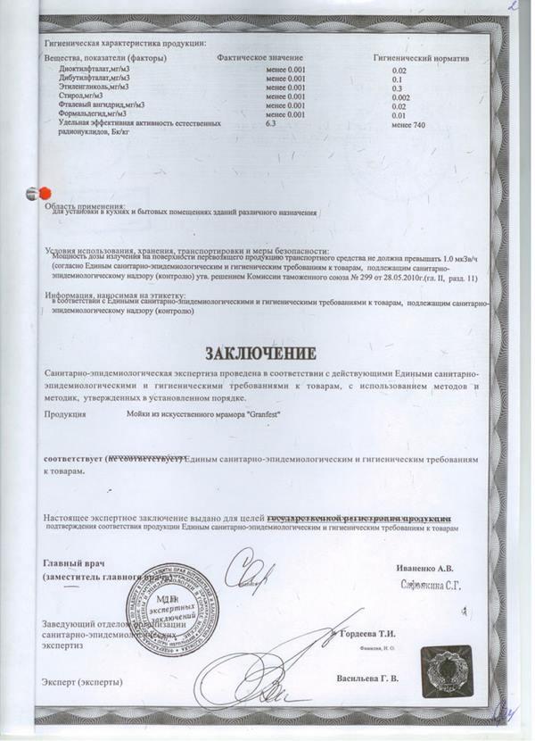 Сертификат соответствия на каменные мойки GranFest 4