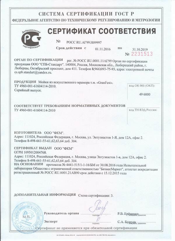 Сертификат соответствия на каменные мойки GranFest 6